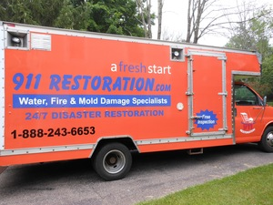 Water Damage Creve Coeur Box Truck Parked At Residential Job Location