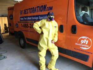 Sewage Cleanup Technician At 911 Restoration Headquarters